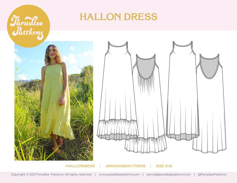 hallon dress sewing pattern by Paradise Patterns.