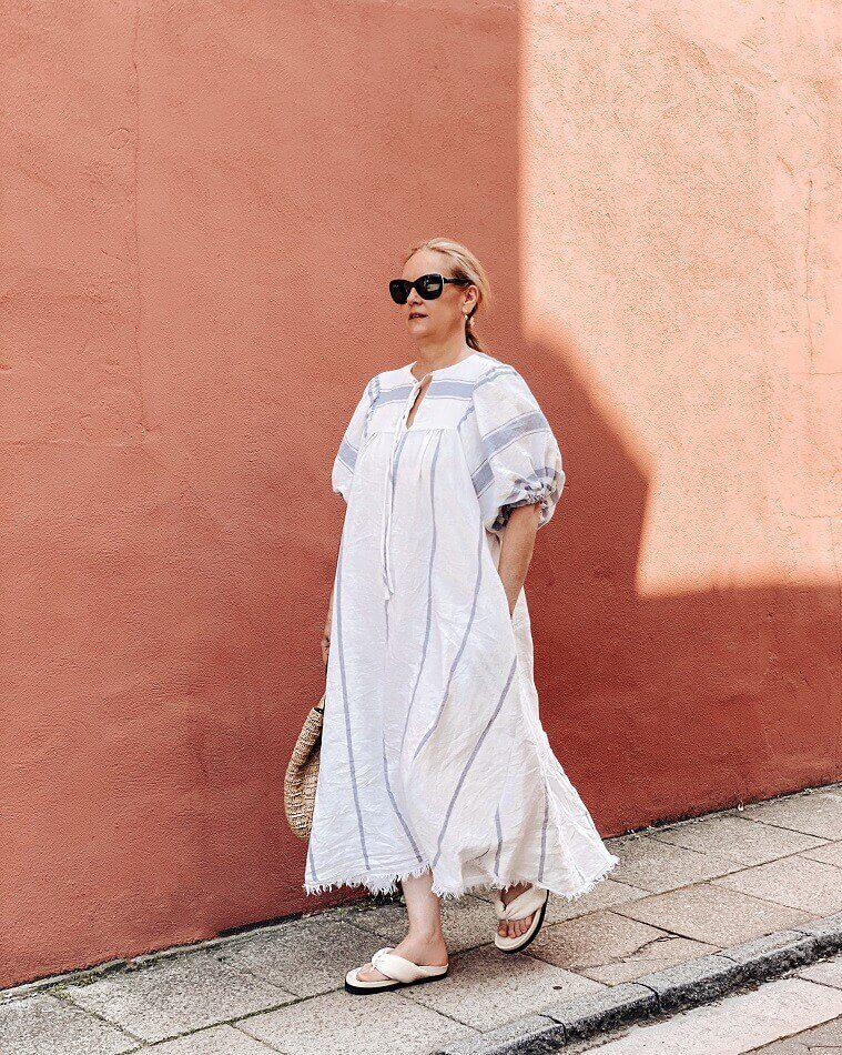 lazy daisy jones linen vali dress by Pattern Fantastique