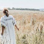 ldj wearing a linen self sewn vali dress